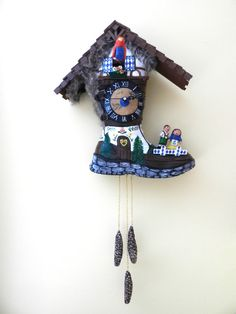 Swiss Cuckoo Clock Boot  Art Boot Sculpture by kimdaniostudio, $375.00