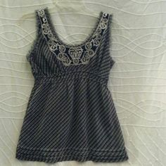 """Tank Top Navy blue tank top with crochet and lace design on front elastic waist buttons up the back raw edge around neck and arms is lined 25""""long Abercrombie & Fitch Tops Tank Tops"""