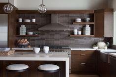 One of 16 Elegant Kitchen Island Designs - West Hollywood Kitchen by Hernandez Greene (=) Elegant Kitchens, Grey Kitchens, Home Kitchens, Modern Kitchens, Small Kitchens, Home Design, Island Design, Transitional Kitchen, Bright