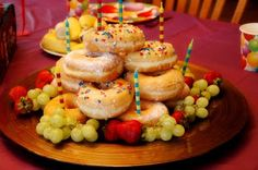 doughnut Birthday cake-This might be more my speed of cake. Have a morning party with a few friends?