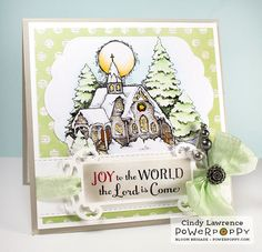 O Holy Night clear polymer stamp set illustrated by Marcella Hawley features a snowy church on Christmas Eve