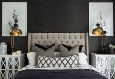 hamptons-style-master-bedroom-with-black-wall-and-tufted-headboard Dormitorio principal estilo hamptons con cabecero negro con paredes y mechones Home Bedroom, Bedroom Furniture, Bedroom Decor, Headboard Decor, Black Furniture, Dream Bedroom, Dining Furniture, Bedroom Ideas, Hamptons Style Bedrooms