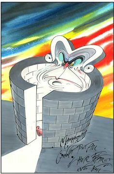 """Mama's gonna put all of her fears into you"" - lyrics from Pink Floyd's ""Mother"" (album: The Wall), artistically realized by Gerald Scarfe."