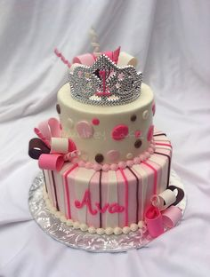 Pink & Brown Princess 1st Birthday Cake by The Cake Chic, via Flickr...like, but not with brown!
