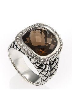 Smokey Quartz Basket Weave Ring