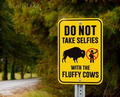 "Several Versions! ""Do Not Take Selfies with Wild Cows"" Funny Outdoor Sign for Camp & Hiking Trails – Bear And Blue"