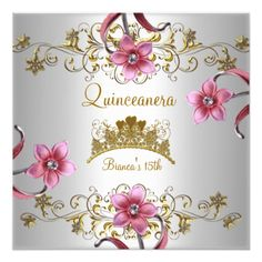 Quinceanera 15th White Pink Flowers Gold Tiara Card