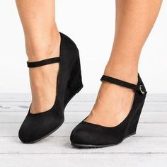 Plain High Heeled Velvet Ankle Strap Round Toe Date Office Pumps Black Wedge Shoes, Black High Heels, Black Wedges, Mary Jane Wedges, Mary Jane Shoes, Prom Shoes, Women's Shoes, Flat Shoes, Homecoming Shoes