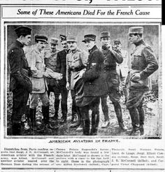 """WWI, 28 March 1917;""""American Aviators in France. Dispatches from Paris confirm reports that Sgt J R McConnal, an American aviator with the French army, was killed"""" - South Bend News Times, US"""