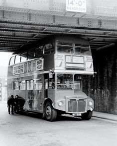 The rail bridge in Hornshay Street , junction of Ilderton Road off the Old Kent Road in July During this time the Old Kent Road section had been one way working and out of service had taken a wrong turn and jammed under the bridge. Vintage London, Old London, London Pictures, Old Pictures, Volkswagen Bus, Volkswagen Beetles, Rt Bus, Routemaster, Double Decker Bus