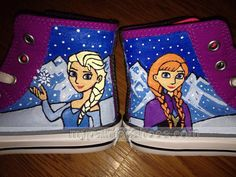 Custom #Frozen Converse Hand Painted Disney\'s Frozen Converse Fro