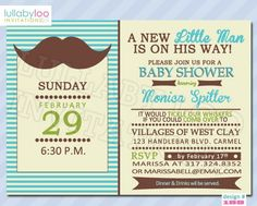 Little Man Baby Shower Invitations (188) | lullabyloo - Cards on ArtFire #little man #mustache #baby shower #baby boy #invitations #partyinvitations