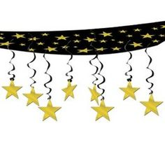 Hangdecoratie plafond sterren goudkleurig -  Een prachtige decoratie om aan het plafond te hangen tijdens een Hollywood of ander glitter en glamour feest. Afmeting: 30 x 360cm.