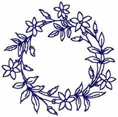 Redwork Round Floral Frame Embroidery Design