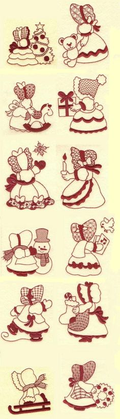 Sunbonnet Sue Christmas Redwork is available for Instant Download at designsbyjuju.com