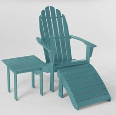 The Pagoda Blue Adirondack Set ($40 to $100) gives the classic look a splash of unexpected color.