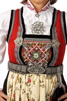 Rukkastakk frå Hallingdal,Norway Norwegian Clothing, Scandinavian Embroidery, Viking Designs, Beautiful Norway, Folk Clothing, Hardanger Embroidery, Fantasy Costumes, Folk Costume, Traditional Dresses