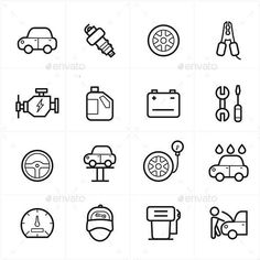 Flat Line Icons For Car Service Icons Vector Illustration: