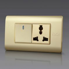 Free Shipping, Kempinski Luxury 1 Gang 2 Way Wall Switch With Electrical Socket, Multifunction Power Outlet, 118*72mm