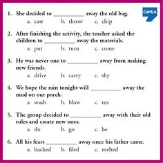 """Many phrasal verbs include the word """"away."""" By itself, away is an adverb denoting something is at a certain distance or to the side. When used with a verb, it can take on many different meanings. To see the answer, click here: https://www.pinterest.com/pin/450500768955316163/"""