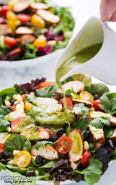 A very healthy, easy, Southwestern Chicken Salad recipe with Cilantro Lime Dressing, it's gluten free and low carb too!