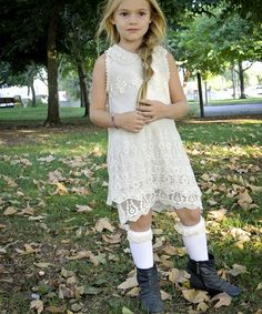Take a look at this White Lace Pearl Collar Dress - Toddler & Girls by Pretty Cute on #zulily today!