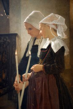 "William A. Bouguereau ""Breton Girls at Prayer"""