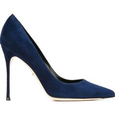 Sergio Rossi Godiva Pumps (355.470 CLP) ❤ liked on Polyvore featuring shoes, pumps, heels, blue, heel pump, blue shoes, blue suede pumps, sergio rossi pumps and suede shoes