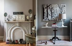 """""""It's amazing how a staple gun, some muslin, a few gallons of chalkboard paint, and a talent for rehabilitating discarded items can bring such beauty and charm to a 19th century Brooklyn brownstone. Interior and prop stylist Hilary Robertson likes to call her technique, of turning trash cans into chandeliers and stapling muslin to a pair of ersatz French chairs, """"upholstery sauvage""""."""""""