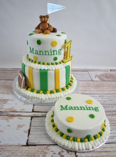 Baylor tailgate theme as a 1st birthday cake -- so cute!