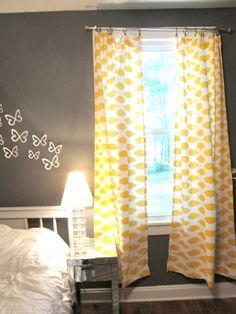 Yellow Curtains :) Beautiful mix of grey and yellow. These colours are always great choice for a bedroom.