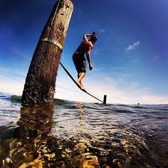 Summer time! Photo credit: @macadoodle1 #slackline #REI1440Project #BlakeIsland