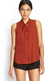 Buttoned Tie-Neck Blouse | FOREVER21 - 2000068892