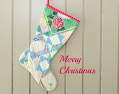 Christmas Stocking Old Quilt 1930s Quilt Retro by CUSHgoods