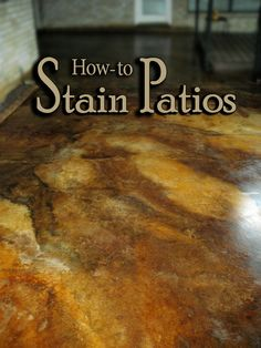 Get Easy to Understand Step-by Step Instructions for DIY Acid Staining Patios or Other Outdoor Concrete Slabs. Direct Colors is the SOURCE for How-to Info and Quality Products for DIY decorative concrete projects! Diy Concrete Stain, Acid Stained Concrete, Painting Concrete, Decorative Concrete, Concrete Projects, Painted Concrete Floors, Concrete Finishes, Plywood Floors, Concrete Lamp