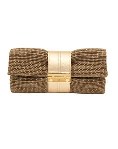 Take Joanna Maxham's Nite Cap Khaki Raffia Clutch everywhere, from day to night it never fails Fashion Handbags, Fashion Bags, Sacs Design, Diy Purse, Craft Bags, Beaded Bags, Fabric Bags, Knitted Bags, Gold Leather