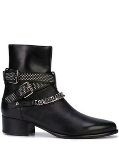 Amiri Chain Detail Ankle Boots In Black Black Leather Boots, Black Ankle Boots, Ankle Booties, On Shoes, Shoe Boots, Buy Shoes Online, Best Wear, Chains For Men, Designer Boots