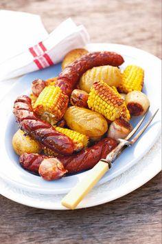 Gebakte mielies met aartappels en chorizo   SARIE   Baked sweet corn and potatoes and chorizo