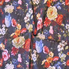 Stretch Baumwollstoff bedruckt  Blumenwiese  Farbe Jeans-Blau