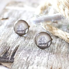 Vintage Sailing Ship Cufflinks. Sail Boat by JujuTreasures on Etsy, $25.00