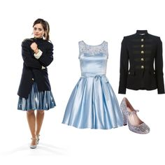 Clara Oswald - Cold War by roseunspindle on Polyvore featuring Emilio Pucci, Miu Miu, Blue, Silver, doctorwho, ClaraOswald and militaryjacket
