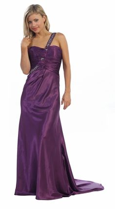 One Strap Purple Dress Long With Train Full Length Satin Purple Gown $177.99