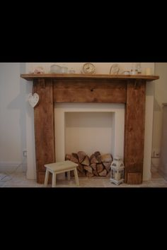Natural wood, rustic look fireplace