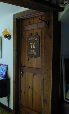 Country Home Plans by Natalie - Primitive Country Home - Homemade Bedroom Door Homemade Bedroom, Primitive Lamps, Rustic Baby Nurseries, Primitive Country Homes, Doors And Floors, Old Doors, Barn Doors, Living Room Redo, Home Remodeling Diy