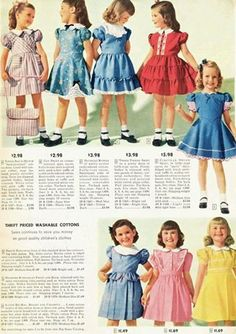 Sears, Roebuck and Co. Catalog from 1948 - Little Girls - Dresses, Coats and Jodpurs, Oh, My! Vintage Kids Fashion, Vintage Kids Clothes, Vintage Girls Dresses, Little Girl Fashion, 1940s Fashion, Little Girl Dresses, Vintage Outfits, Vintage Children, Moda Kids
