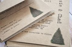 Rustic Tree Wedding Invitations Christmas Forest Trees Wedding