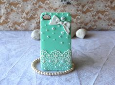 iPhone case white bow rhinestone pearl lace protective case for iPhone 5 iPhone 4 4s phone case friendship graduation gifts summer trending on Etsy, £9.34