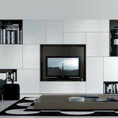 33 modern wall units decoration from jesse - Meuble Tv Living Blanc Laque For You