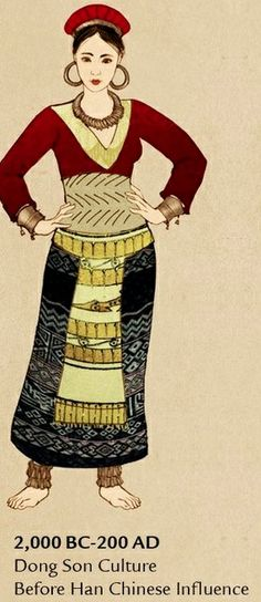 Clothing of the Dong Son Culture of Vietnam before Chinese influence.  Illustration by lilsuika on deviantart.