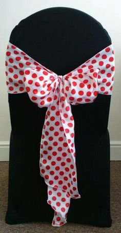 White/Red Dots - Chair Cover - By Vikki - At Sapphire Bespoke Events, 59 Poulton Road, Wallasey, Wirral